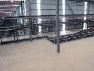 double handrail on warehouse stairs