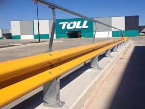 warehouse perimeter protection with rhino stop type 3 guardrail