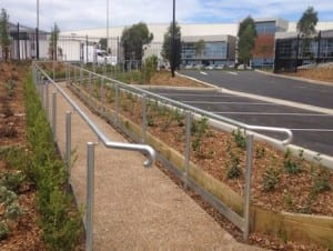 single handrail installation in the pathway