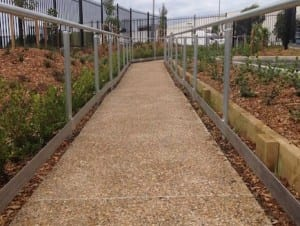 pathway rail with single handrail