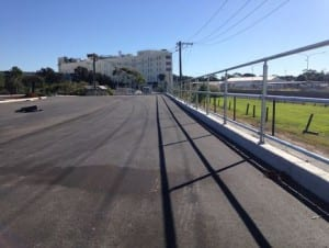 road side protection with triple rail handrail