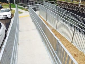 pedestrian fencing type 1 installation on a pathway