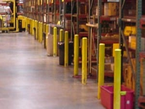 base plated bollard installed in a warehouse