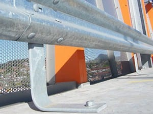 spring steel buffers installation on safety barrier