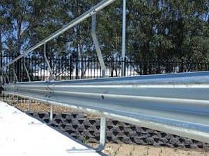 spring steel buffers on rhino stop guardrail