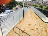 Metal Fencing Specialists Pedestrian Pathway Fencing with Handrail